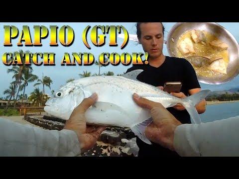 Fishing For Dinner In Hawaii - Papio Aukea (GT / Ulua) Hawaiian Catch And Cook! B.O.D.S. 35