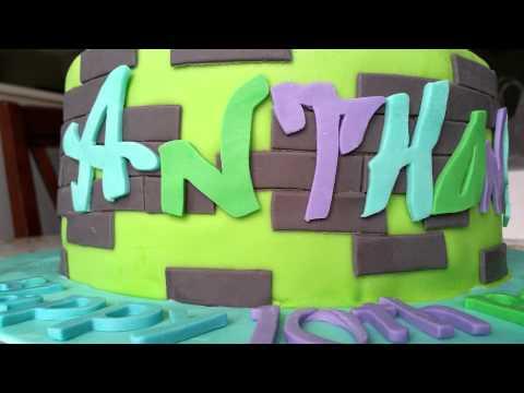 Skateboard Graffiti Wall Cake by Rose-E-Cakes
