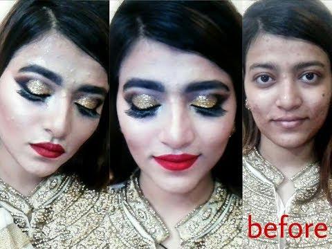 Golden Glitter Bridal make-up tutorial in Urdu/hindi