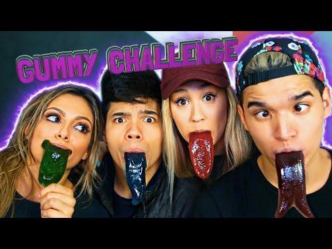 GUMMY TONGUE CHALLENGE! ft. LaurDIY D-Trix & Bethany Mota