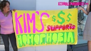 Kim Kardashian Protesters Gather At Dash On The Day Of KKW Beauty Makeup Launch 6.21.17