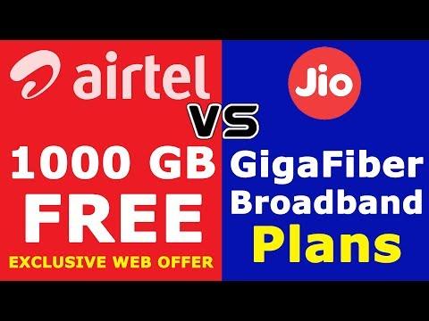Airtel 1000 GB broadband Data Plan | Jio Vs Airtel Broadband Plans