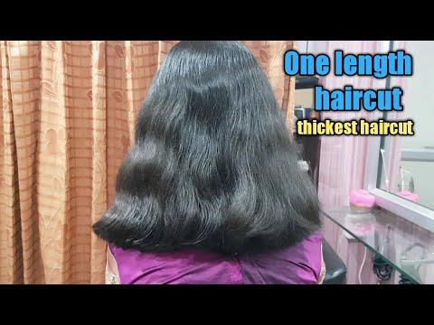 how to cut one length haircut/how to cut hair straight for thickest hair/one length haircut
