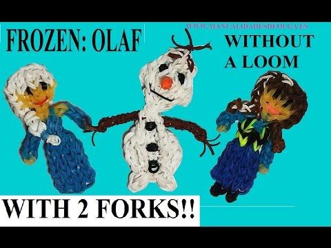 OLAF snowman figurine With two forks without Rainbow Loom Tutorial. (Mini Figurine)