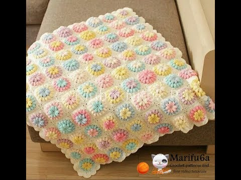 How to crochet flower afghan blanket free easy pattern tutorial for begginer