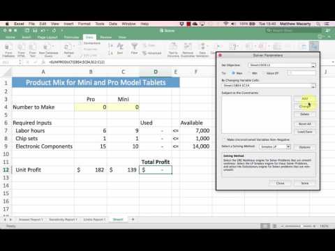 Linear Programming (LP) Optimization with Excel  Solver