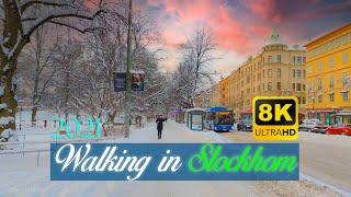 Walking in Stockholm Winter 8K 2021| Stockholm Train Station | Sweden Walk Vlog
