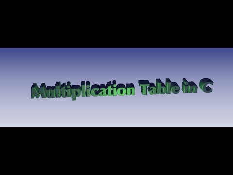 Multiplication Table in C Programming