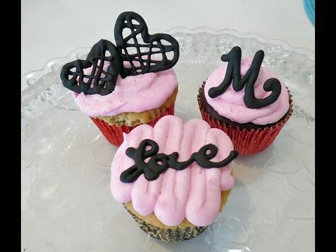 Chocolate Garnish Writing Monogram Cupcakes