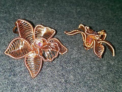 Cymbidium orchid - Copper Flower 3D pendant - mặt dây chuyền hoa lan 273