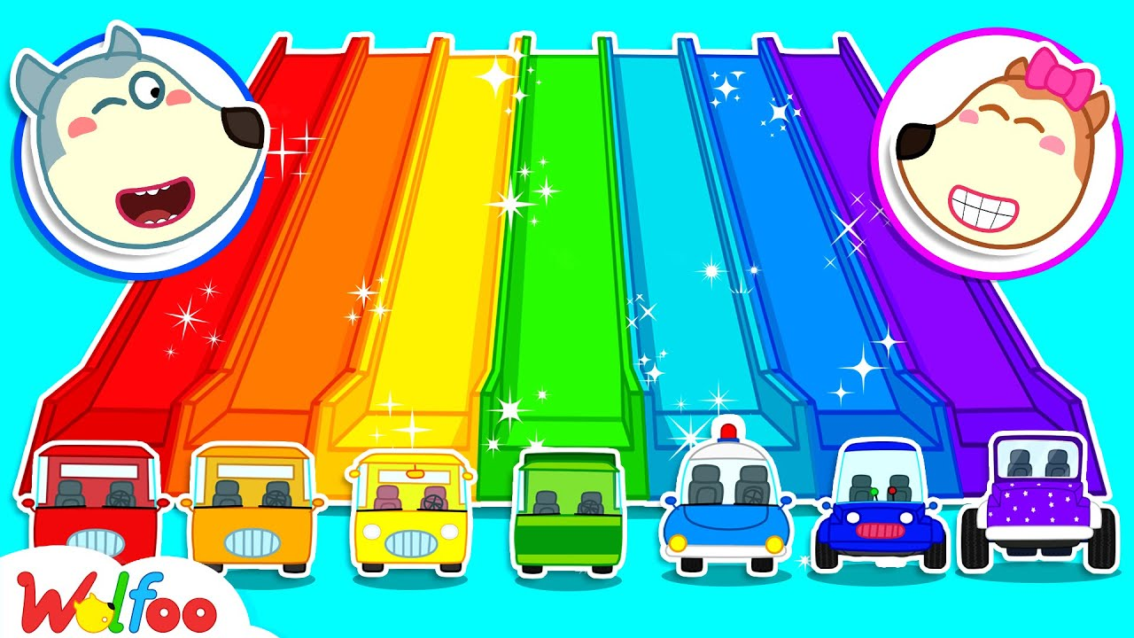 Wolfoo Learns Colors with Rainbow Slide and Colorful Cars - Kids Play with Toy Cars   Wolfoo Channel