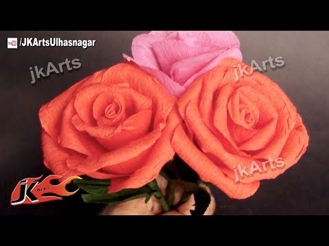 DIY How to make Crepe Paper Rose Flower |  JK Arts 377