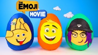 The Emoji Movie Giant Play Doh Surprise Eggs Toys with Hi-5, Jailbreak, Gene   Ellie Sparkles