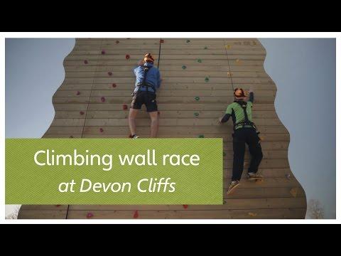 Climbing wall race at Devon Cliffs