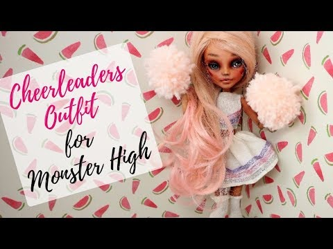 HOW TO MAKE CHEERLEADER OUTFIT FOR MONSTER HIGH - EASY! /  Barbie Tutorial Craft Ideas for Kids Toys