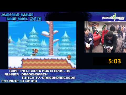 New Super Mario Bros DS - Speed Run in 0:28:39 live for Awesome Games Done Quick 2013