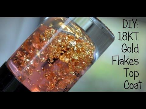 DIY: 18KT gold flakes top coat