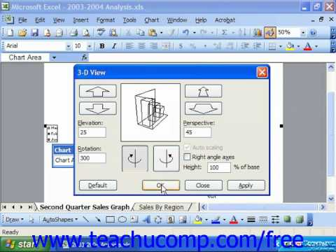 Excel 2003 Tutorial Adjusting Perspective in 3D Charts Training Lesson 22.12
