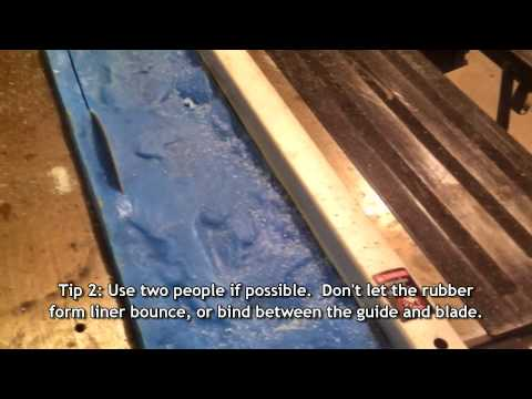 Cutting Down a Concrete Rubber Edge Form Step Countertop Liner