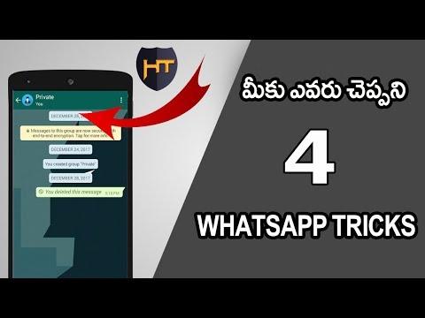 4 Secret Whatsapp Tricks in 2018 || Telugu Tech Tuts