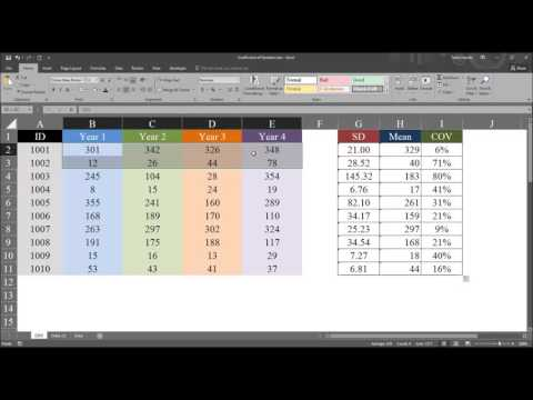 Calculating and Understanding the Coefficient of Variation COV in Excel
