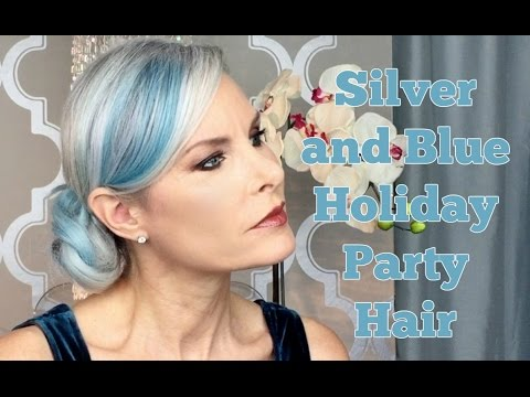 Silver And Blue Party Hair