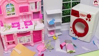 ละครบาร์บี้ ตอน เจ้าหญิงเอลซ่ากับเจ้าหญิงอันนาช่วยกันทำความสะอาดบ้านครั้งใหญ่ Barbie Story Time