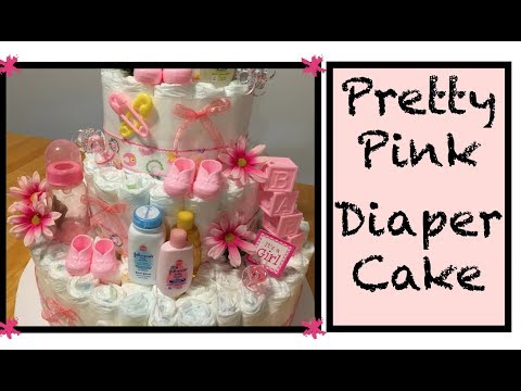 How to make a Diaper Cake - PINK FLOWERS & BOWS step by step instructions