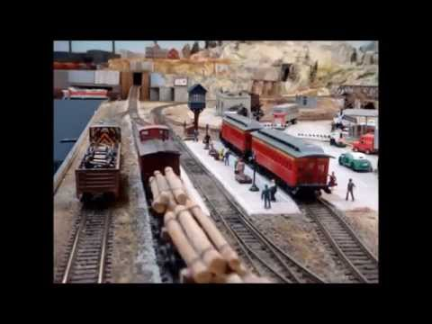Small model train layout in corner of garage HO scale Part 2