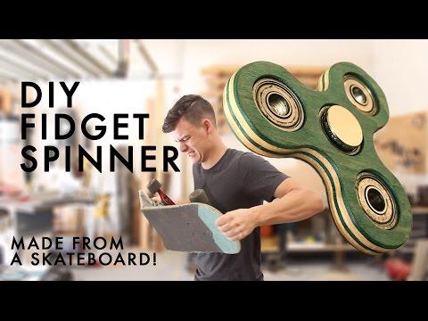 Wooden Fidget Spinner made from Broken Skateboard deck   How To