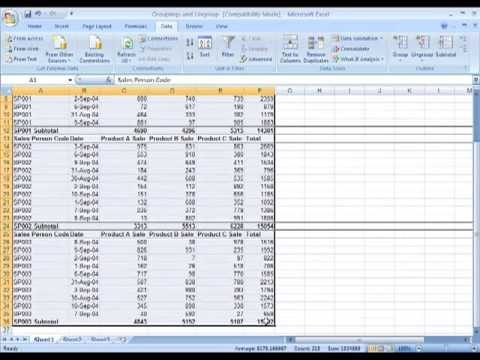 MS Excel 2007 Outlining and Subtotal
