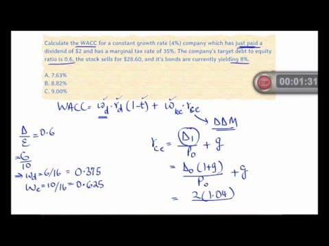 2016 CFA Level 1 Solved Problem - SS11 - Corporate Finance - WACC