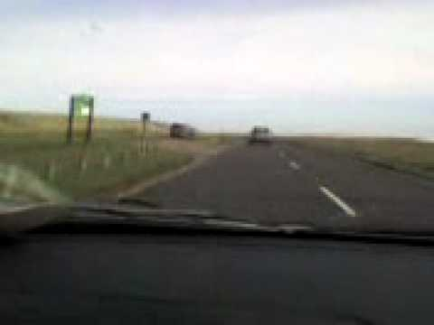 driving across the causway to holy island
