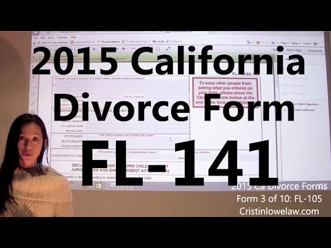 Filing California Divorce Forms: Form 10 of 10 the FL-141