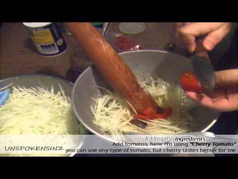 How to make Papaya salad, Som Tam, Qaub, Bok l'hong