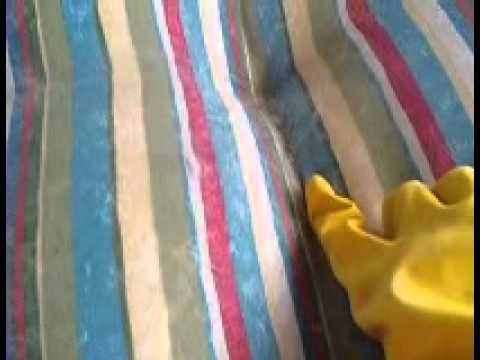 How to clean patio furniture cushions easily using gloves and dryer sheet