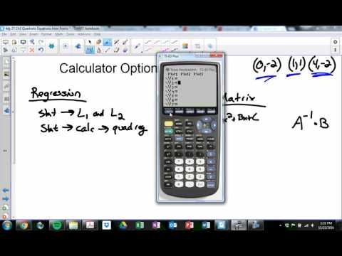 How To Find a Quadratic Equation given Three Points (with and without graphing calculator)