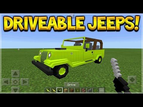 DRIVEABLE JEEPS!! Minecraft Pocket Edition - Drive-able Jeeps Car Addon (Pocket Edition)