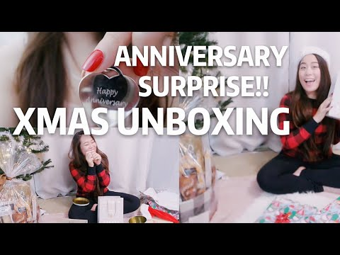BOYFRIEND'S ANNIVERSARY GIFT SURPRISE, OPENING XMAS GIFTS!!