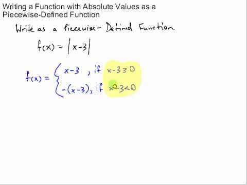 writing an absolute value as a piecewise-defined function