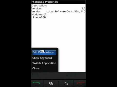 Changing application permissions on BlackBerry