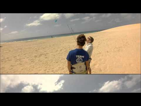 Kitesurf lesson, Learn to fly a trainer kite.