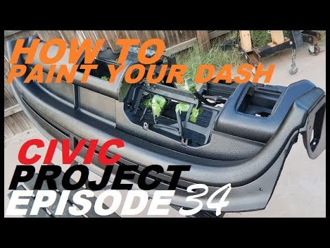 (DIY Interior color change )EF Civic project ep.34, Painting the dash black