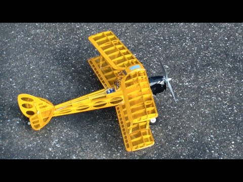 over 10 year Old self made RC wood Airplane Family Day 2014