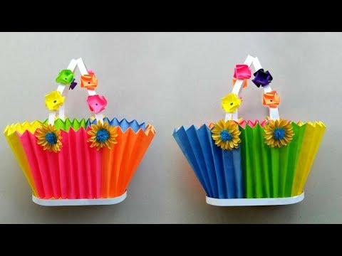 DIY Paper Basket | How to Make Multicolor Paper Basket for Chocolates | Christmas Gift Basket