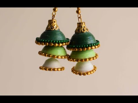 3D Quilled Three Layer Jhumka/ Quilling Jhumka/ Paper Earrings