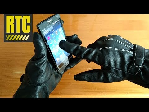 Mens Black Leather Touchscreen Gloves for Smartphone