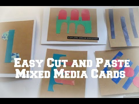 Easy Cut and Paste mixed media Cards/ how to cut and paste /  DIY collage cards