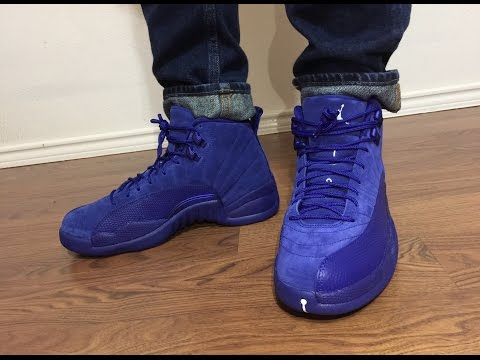 Jordan Retro 12 Suede Deep Royal Blue unbox and on feet review!