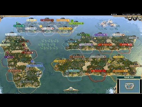 Civ 5 AI Only Timelapse: Intercontinental Madness, 32 Civs on Four Micro Continents